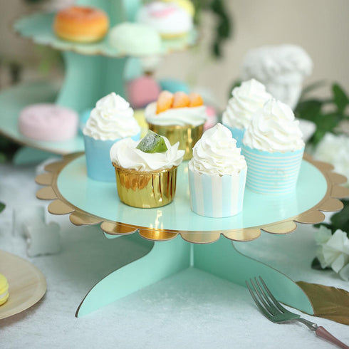 "1 Tier - 13"" Mint Cardboard Cupcake Stand - Gold Scalloped Edge Mini Dessert Cake Holder"