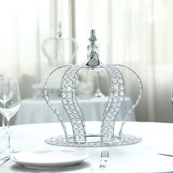 "16"" Silver Crystal Metallic Royal Crown Cake Topper - Fillable Cake Crown Centerpiece"