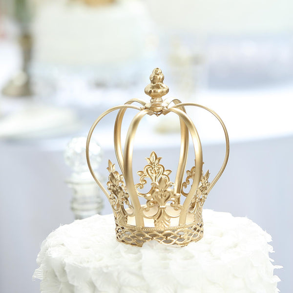 "8"" Gold Metal Royal Crown Cake Topper - Fillable Cake Crown Centerpiece"