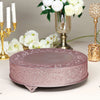18 inch Rose Gold Embossed Round Cake Plateau, Metal Cake Stand Cake Riser