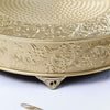 "22"" Gold Embossed Round Cake Plateau, Metal Cake Stand Cake Riser"