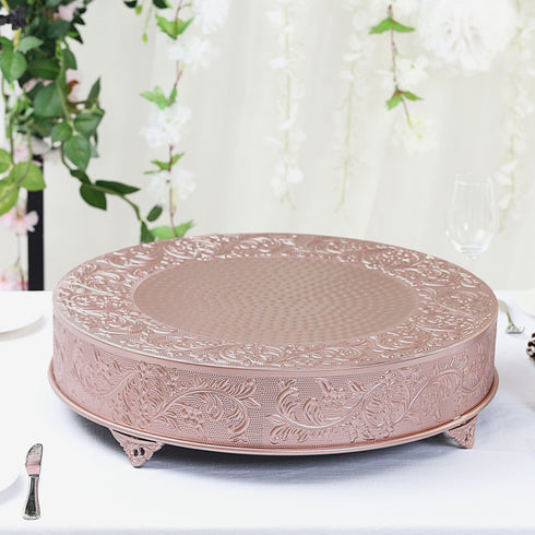 "22"" Rose Gold Embossed Round Cake Plateau, Metal Cake Stand Cake Riser"