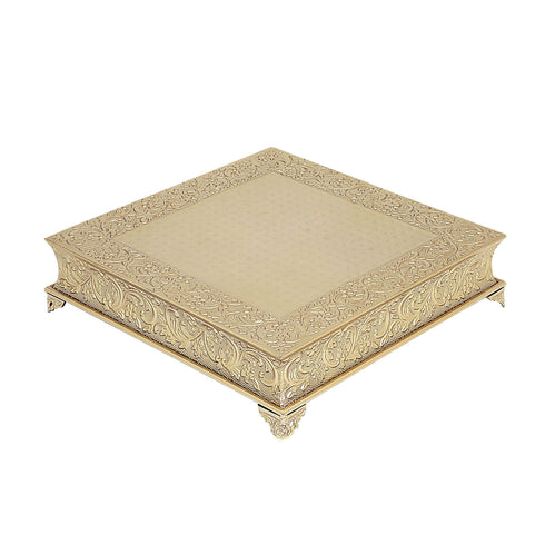 "22"" Gold Embossed Square Cake Plateau, Metal Cake Stand Cake Riser"