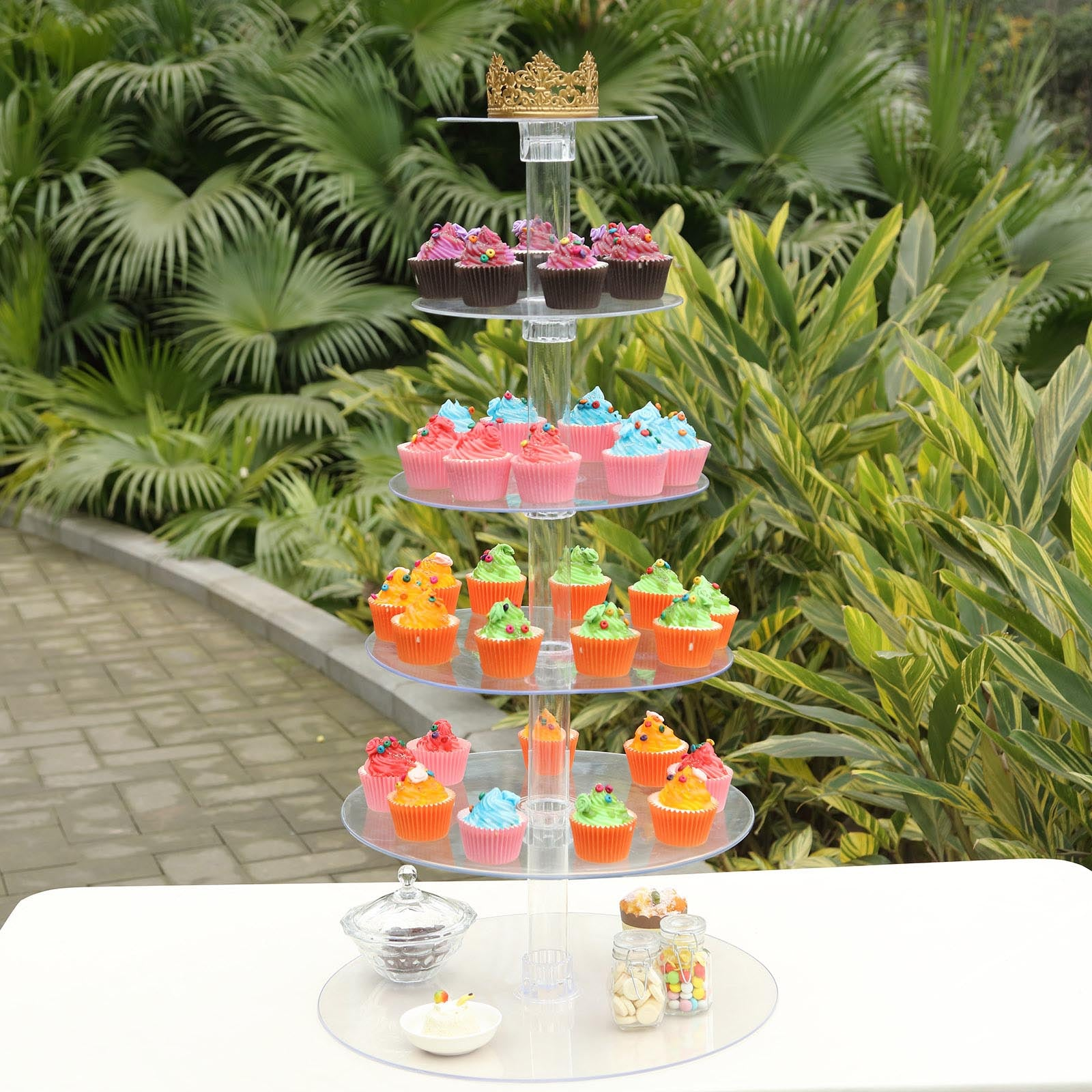 6 Tier Clear Round Acrylic Cupcake Cake Stand 18