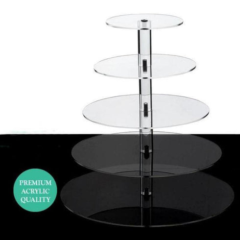 "5 Tier - 17"" Round Acrylic Cake Stand, Tiered Cupcake Stand, Dessert Stand"