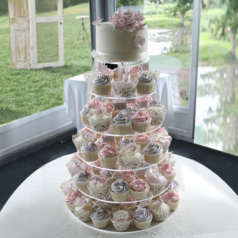 6 Tier Round Heavy Duty Acrylic Glass Cupcake Dessert Stand For Birthday Wedding Party