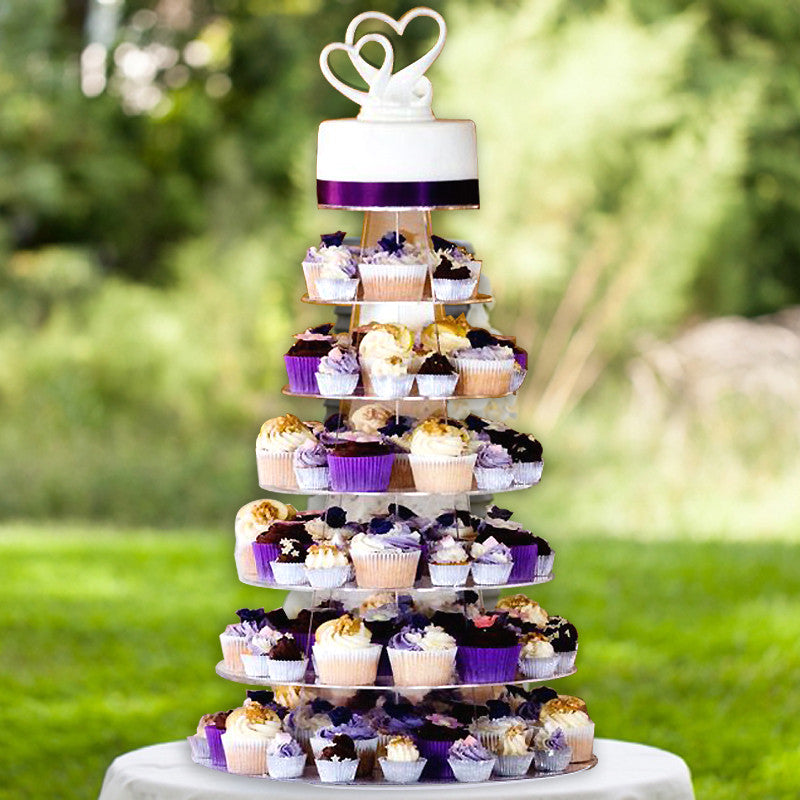 Wedding Cupcake Stand Ideas: 7 Tier Round Heavy Duty Acrylic Cupcake Dessert Stand
