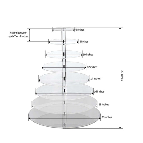"8 Tier Acrylic Round Cupcake Stand | 29"" Height 