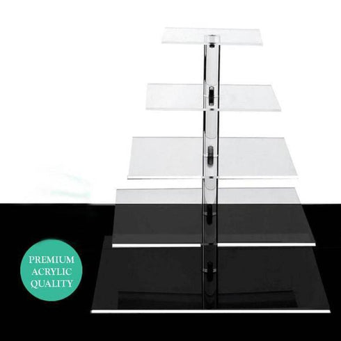 "5 Tier Acrylic Square Cupcake Stand | 17"" Height 