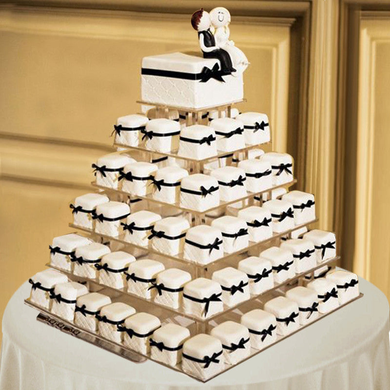 how to decorate a square wedding cake with fondant 6 tier square premium grade acrylic glass cup cake 15654