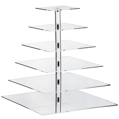 6 Tier Square Heavy Duty Acrylic Glass Cupcake Dessert Stand