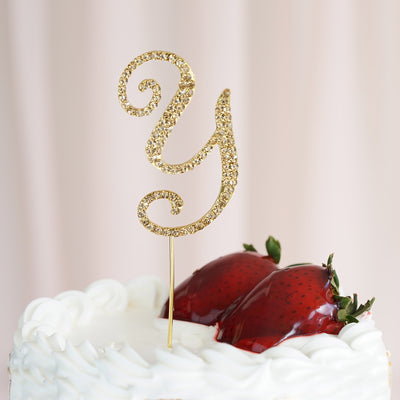 "2.5"" Gold Glittering Rhinestone Letter Wedding Cup Cake Toppers"