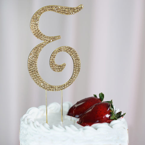 "4"" Gold Rhinestone Letter Cake Toppers"