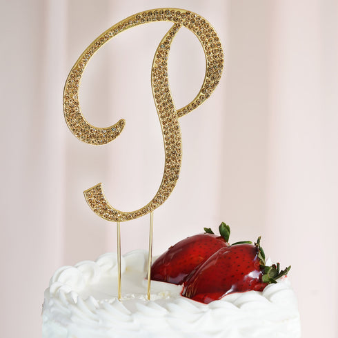 "4.5"" Gold Glittering Rhinestone Letter Wedding Cup Cake Toppers"