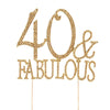 40 & Fabulous Gold Metallic Rhinestones Embeded Cake Topper