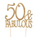 50 & Fabulous Gold Metallic Rhinestones Embeded Cake Topper