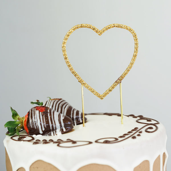 gold heart wedding cake toppers gold rhinestone wedding cake topper efavormart 14785