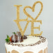 "9.5"" Gold Metallic Love Crystal Rhinestone Cake Topper"