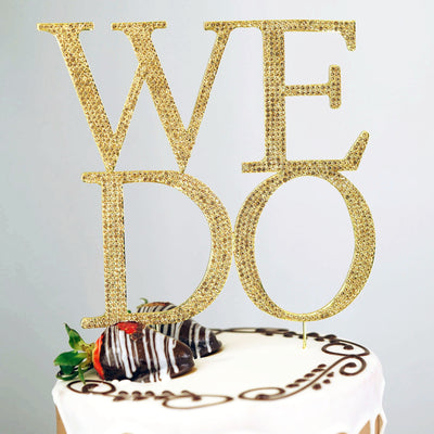 "10.25"" WE DO Gold Metal Rhinestone Monogram Cake Topper"