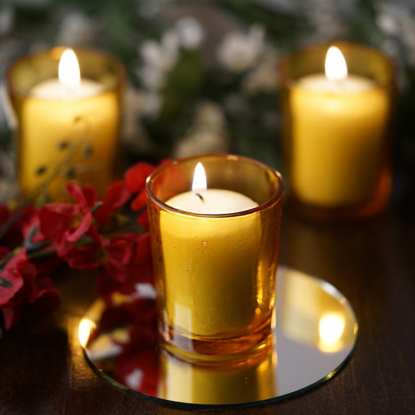 Pack of 12 - White Votive Candles with Amber Votive Holder Set