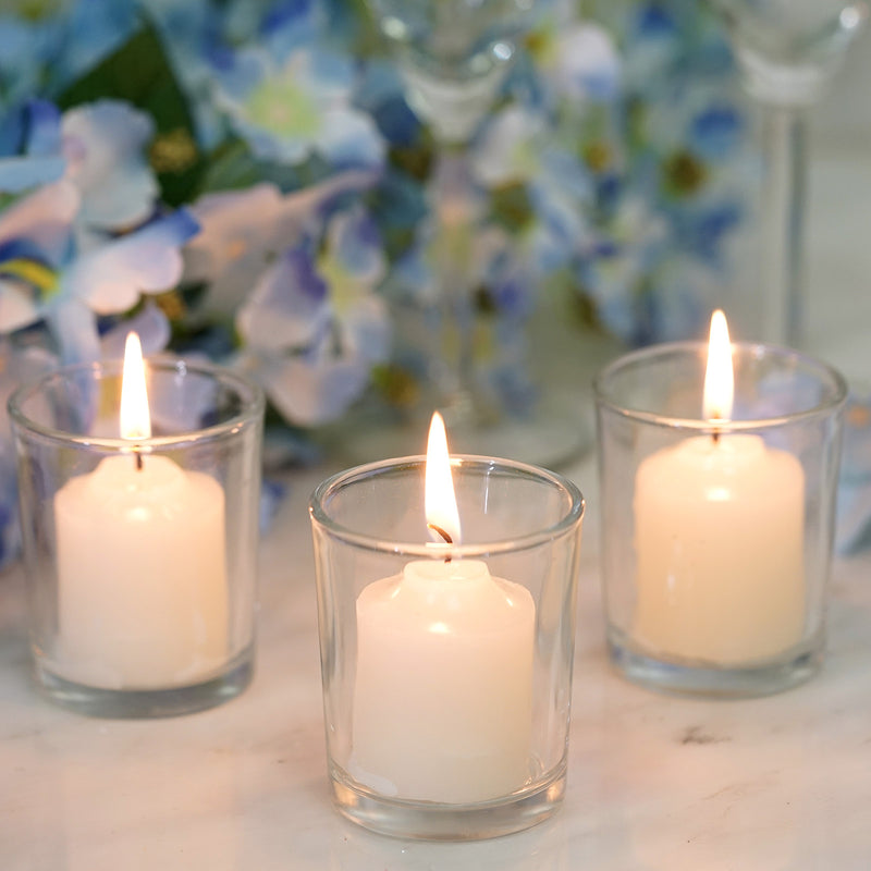 12 Pack Ivory Votive Candles with Clear Votive Holder Set