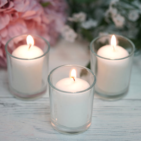 12 Pack White Votive Candles with Clear Holders