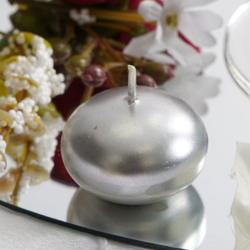 "12 Pack - 1.5"" Silver Mini Disc Dripless Floating Candles"