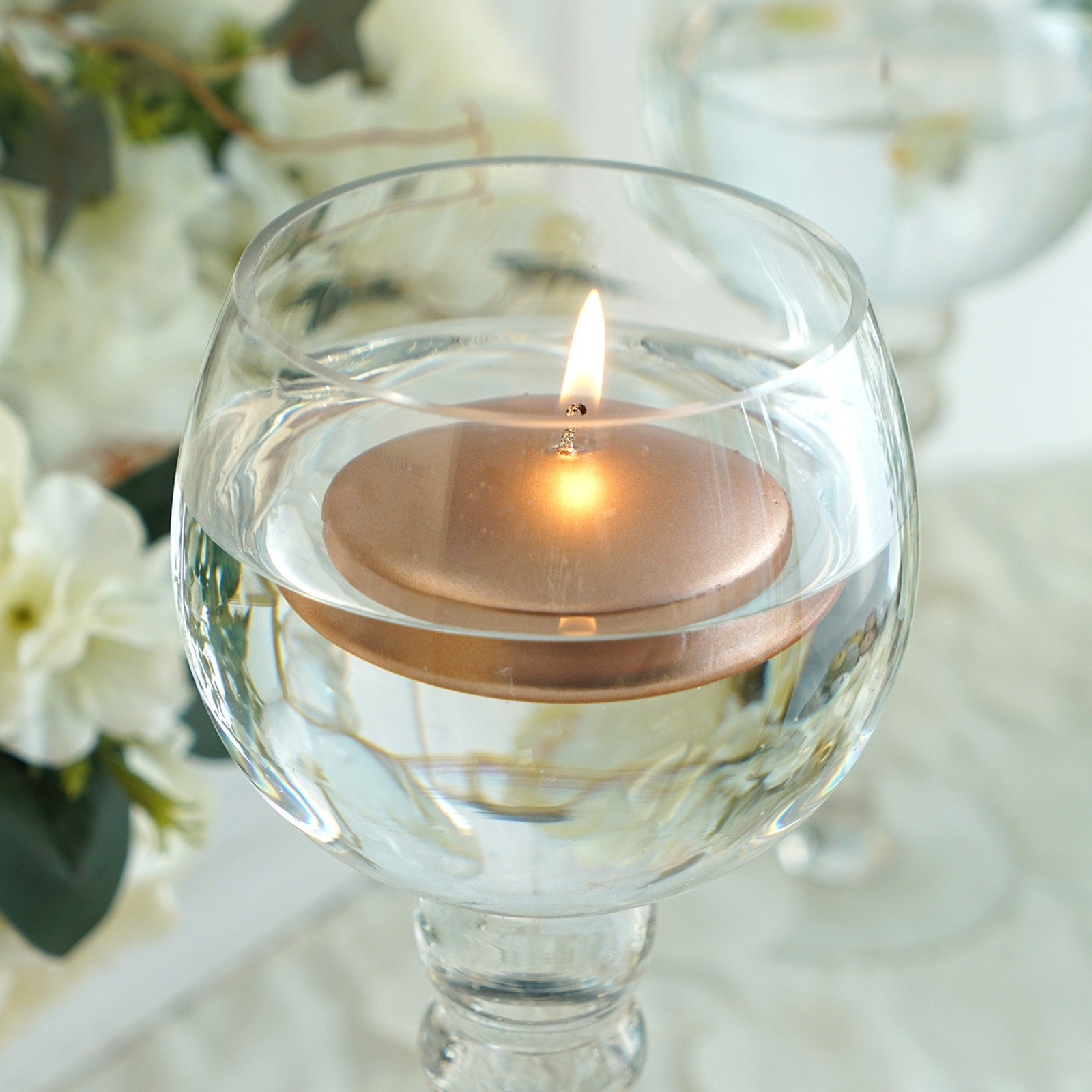 3 Rose Gold Disc Unscented Floating Candles Candle Centerpieces Efavormart