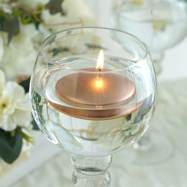 "4 Pack - 3"" Rose Gold Disc Unscented Floating Candles - Long Lasting Candle Centerpieces"