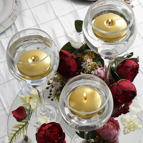"4 Pack - 3"" Gold Disc Unscented Floating Candles - Long Lasting Candle Centerpieces"