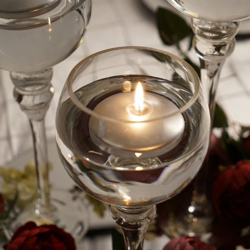 "4 Pack - 3"" Silver Disc Unscented Floating Candles - Long Lasting Candle Centerpieces"