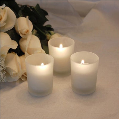 12 Pack White Votive Candles with Frosted Candle Tea Light Votive Holders