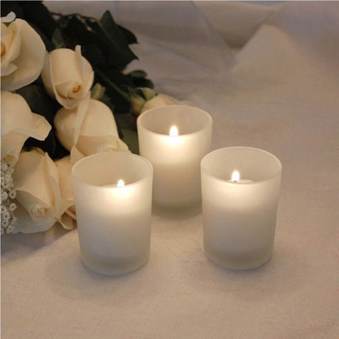12 Pack White Votive Candles with Frosted Votive Holders