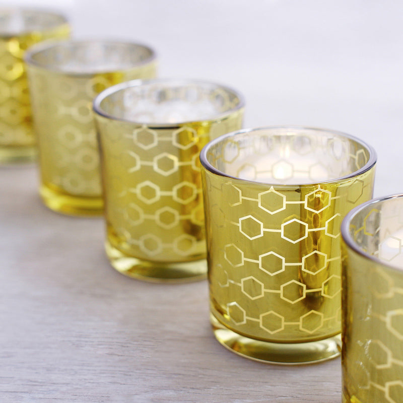 6 Pack | Gold Mercury Candle Holders, Glass Votive Candle Holders With Honeycomb Design