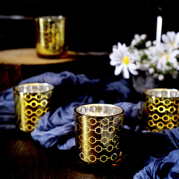 6 Pack | Gold Mercury Glass Votive Candle Holders, Honeycomb Design Tealight Holders