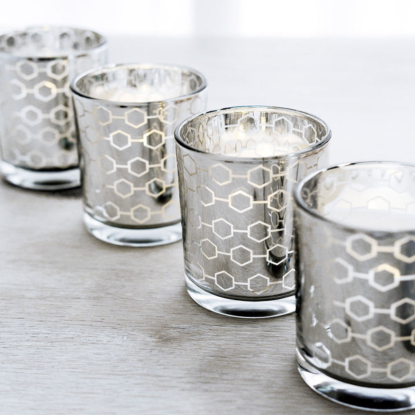 6 Pack | Silver Mercury Candle Holders, Glass Votive Candle Holders With Honeycomb Design