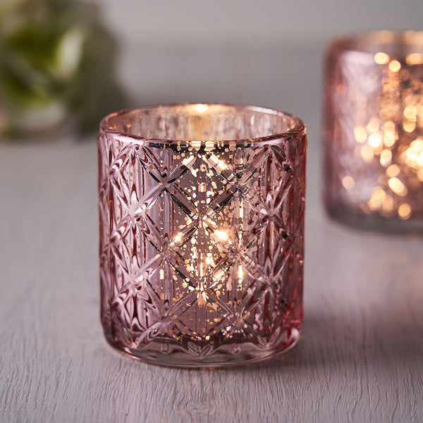 6 Pack | Antique Rose Gold Mercury Glass Candle Holders, Votive Tealight Holders With Geometric Design
