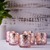 6 Pack Antique Rose Gold Mercury Glass Candle Holders, Votive Tealight Holders With Geometric Design