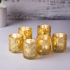 6 Pack | Antique Gold Mercury Glass Candle Holders, Votive Tealight Holders With Geometric Design