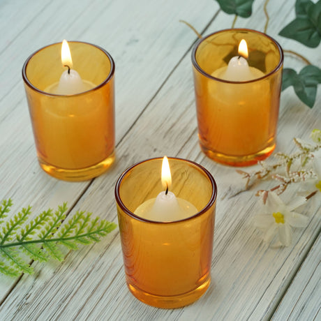 93b3d1267 12 Pack Amber Votive Candle Holders
