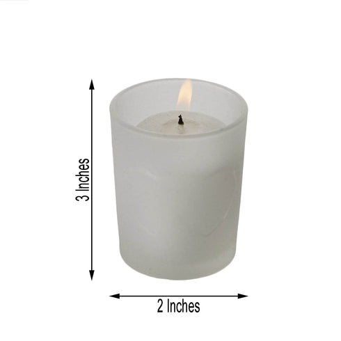 Pack of 12 - White Votive Candles With Frosted Votive Holder Set