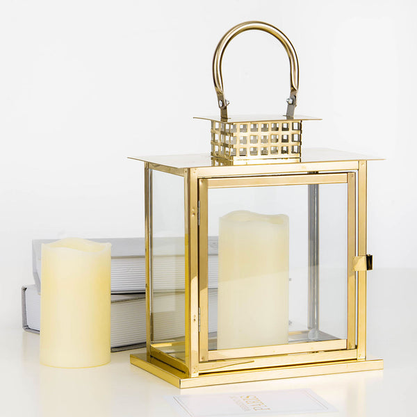 "10"" Gold - Cage Top Stainless Steel Metal Lantern Centerpieces, Outdoor Candle Lanterns"