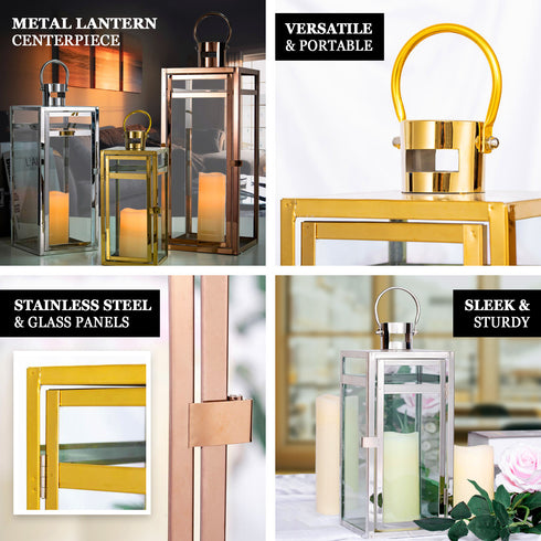 "17"" Gold - Stainless Steel Metal Lantern Centerpieces, Outdoor Candle Lanterns"