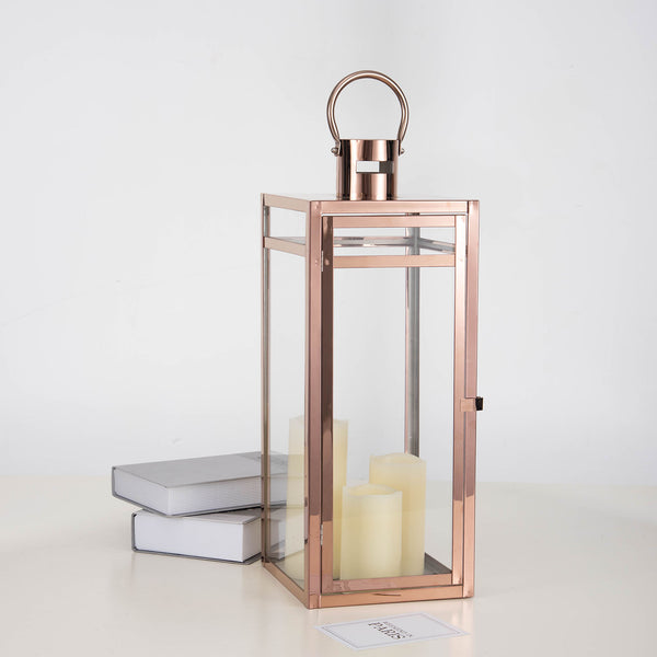"22"" Rose Gold - Stainless Steel Metal Lantern Centerpieces, Outdoor Candle Lanterns"