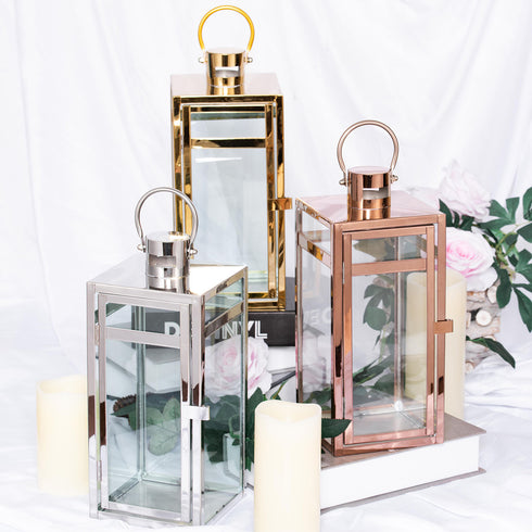 12Metal Lantern Centerpieces, Outdoor Candle Lanterns