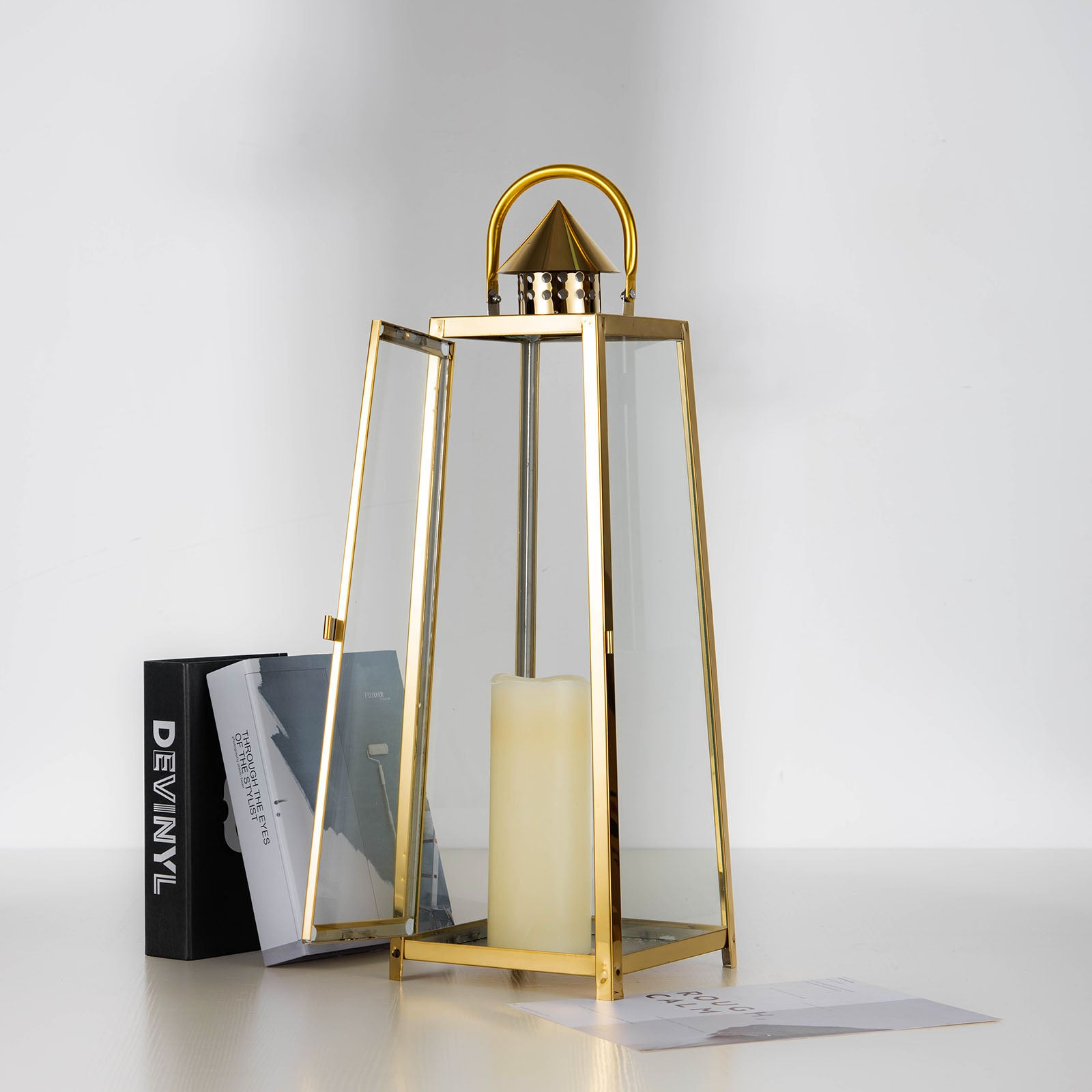 """22"""" GOLD Cone Top Stainless Steel Lantern Candle Holder Tabl"""