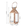 "8"" Rose Gold - Crown Top Stainless Steel Metal Lantern Centerpieces, Outdoor Candle Lanterns"