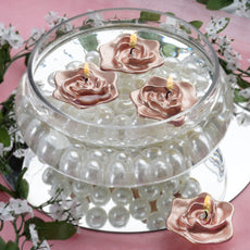 4 Pack Rose Gold Rose Flower Floating Candle Centerpiece Decoration