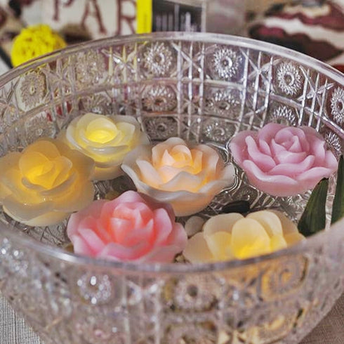 4 Pack Silver Rose Flower Floating Candles