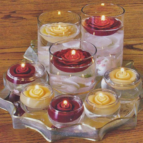 4 Pack Light Green Rose Flower Floating Candles